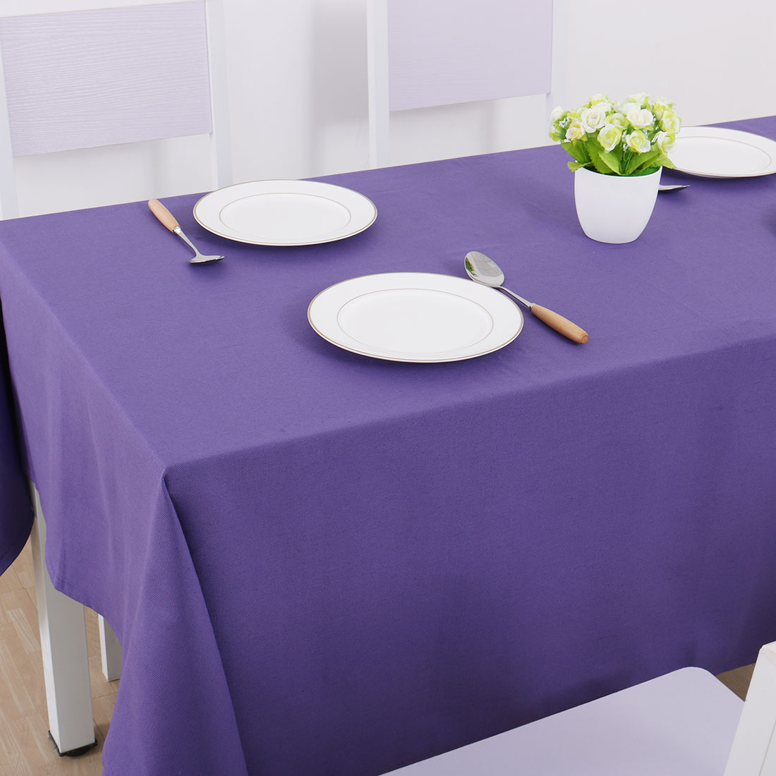 """Vintage Rectangle Cotton Linen Tablecloth Purple 55""""x71"""" Water Stain Resistant - image 4 of 7"""