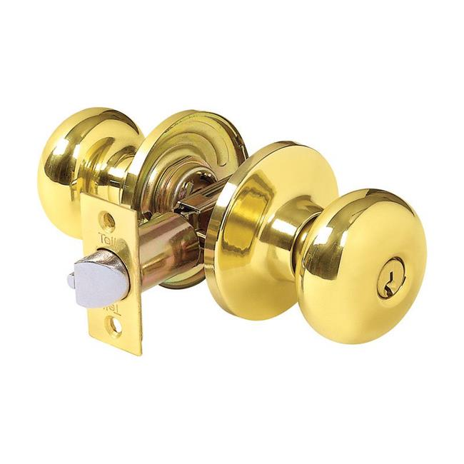 Tell Manufacturing 5995790 Parkland Bright Brass Steel Entry Knob for ANSI Grade 3 Any, 1.75 in.