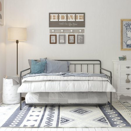 DHP Wallace Metal Daybed with Trundle, Full, (Dhp Victoria Full Size Metal Daybed White)