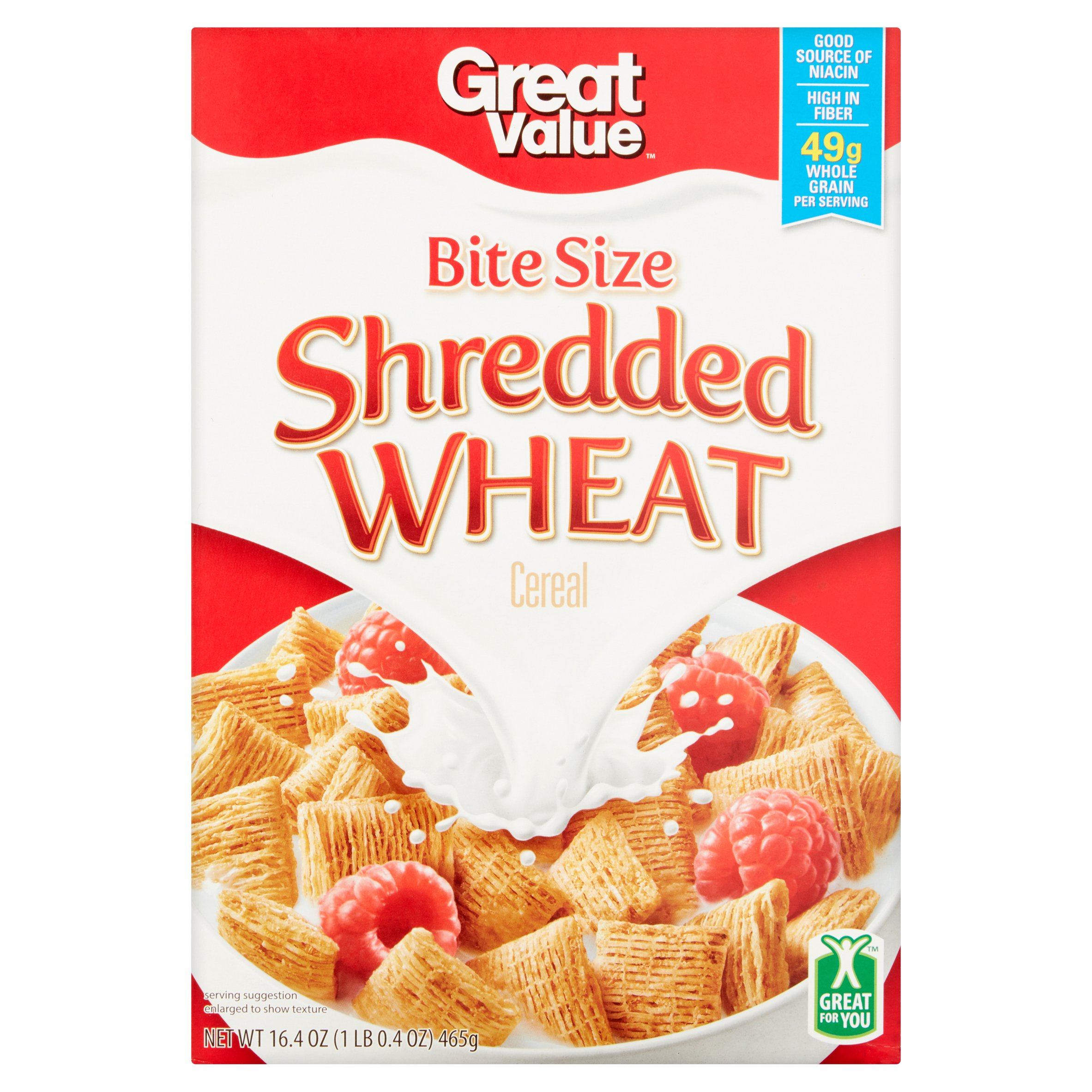 (3 Pack) Great Value Shredded Wheat Cereal, 16.4 oz