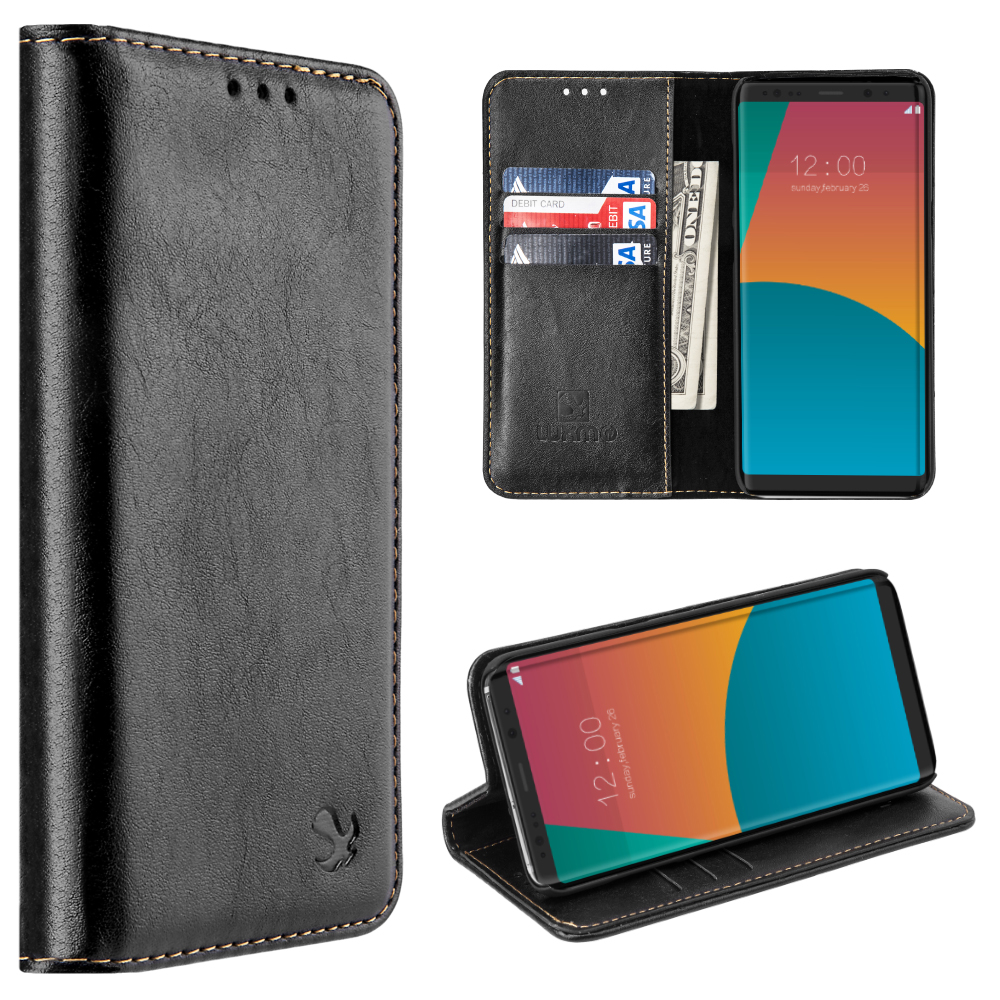 MUNDAZE Sleek Black Faux Leather Wallet Case For Samsung Galaxy Note 8 Phone