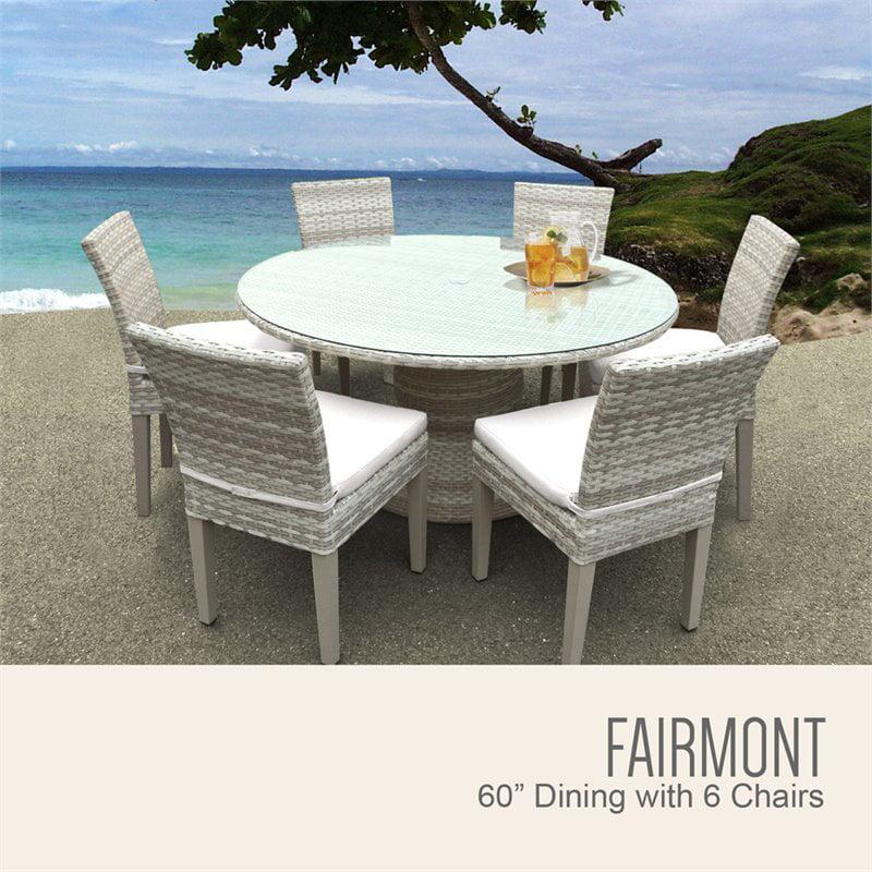 "60 Round Glass Dining Set: TKC Fairmont 7 Piece 60"" Round Glass Top Patio Dining Set"
