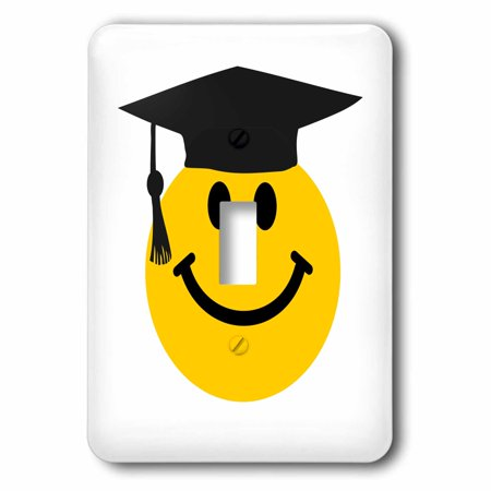 3dRose Graduate smiley - graduating happy face with black mortarboard hat and tassle - uni or school grad, 2 Plug Outlet Cover (Graduate Hat)
