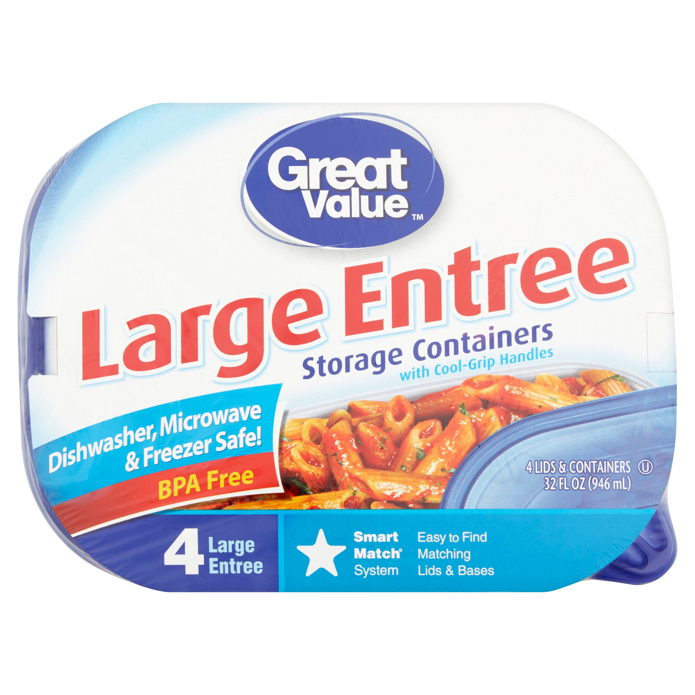 Great Value Large Entrée Storage Containers, 4 Count