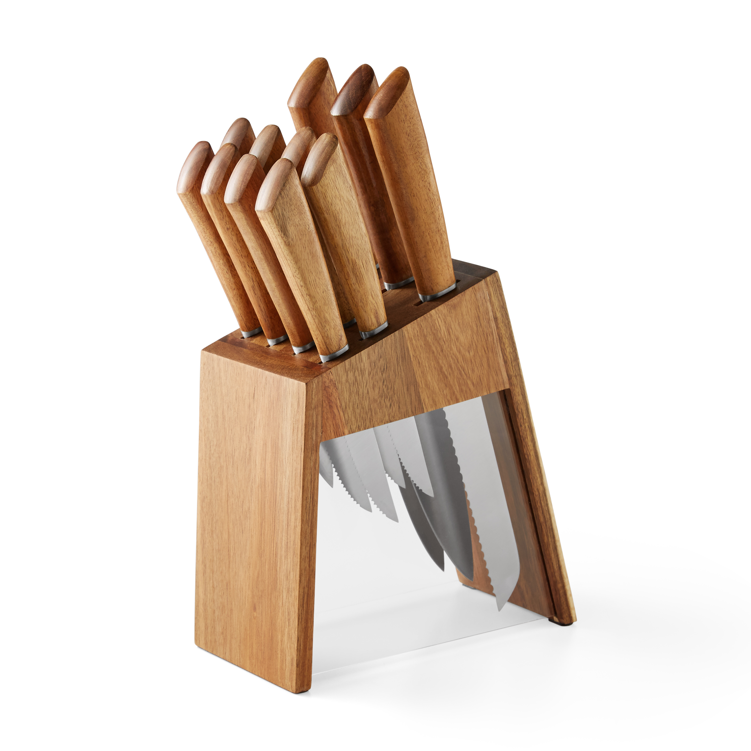 12-Piece Acacia Handle Knife Set with Acacia Wood and Acrylic Block