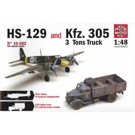 Italeri 1:48 WWII HS-129 & Kfz.305 3 Ton Truck 2 in 1 Plastic Model Kit #10-502