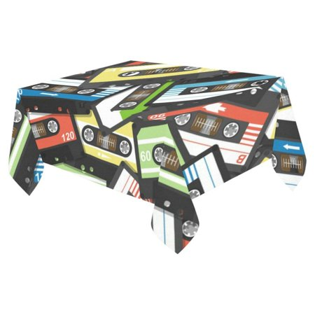 MYPOP Tablecloth Cover Music Tape Home Decor 52x70 Inch, Musical Theme Fabric Desk Table Cloth for Dining Room Kitchen Party Decoration - Table Themes For Parties