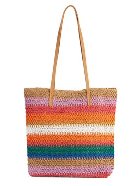 f6730f7e94 Product Image Time   Tru Multi Bold Stripe Packable Straw Tote