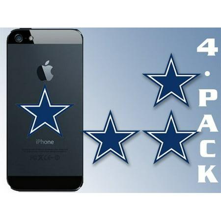 Fan Club Sticker - 4-PACK Small Dallas Blue Star Stickers (cowboy logo dak fan laptop)