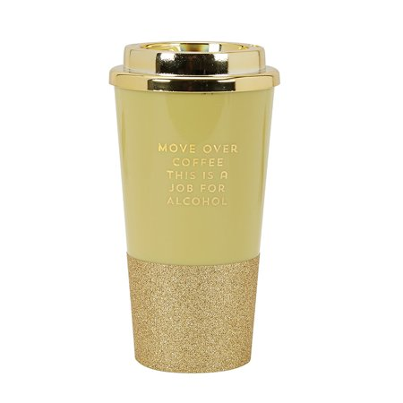 16 Ounce Plastic Lid - CR Gibson 16 Ounce Plastic Travel Cup With Glitter Base- Move Over Coffee