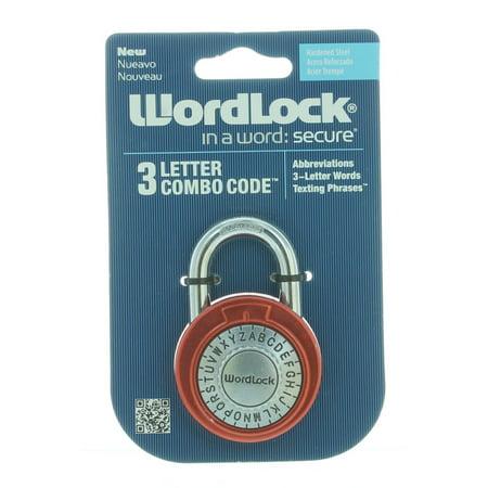 red wordlock 3 letter combination lock code steel standard size padlock