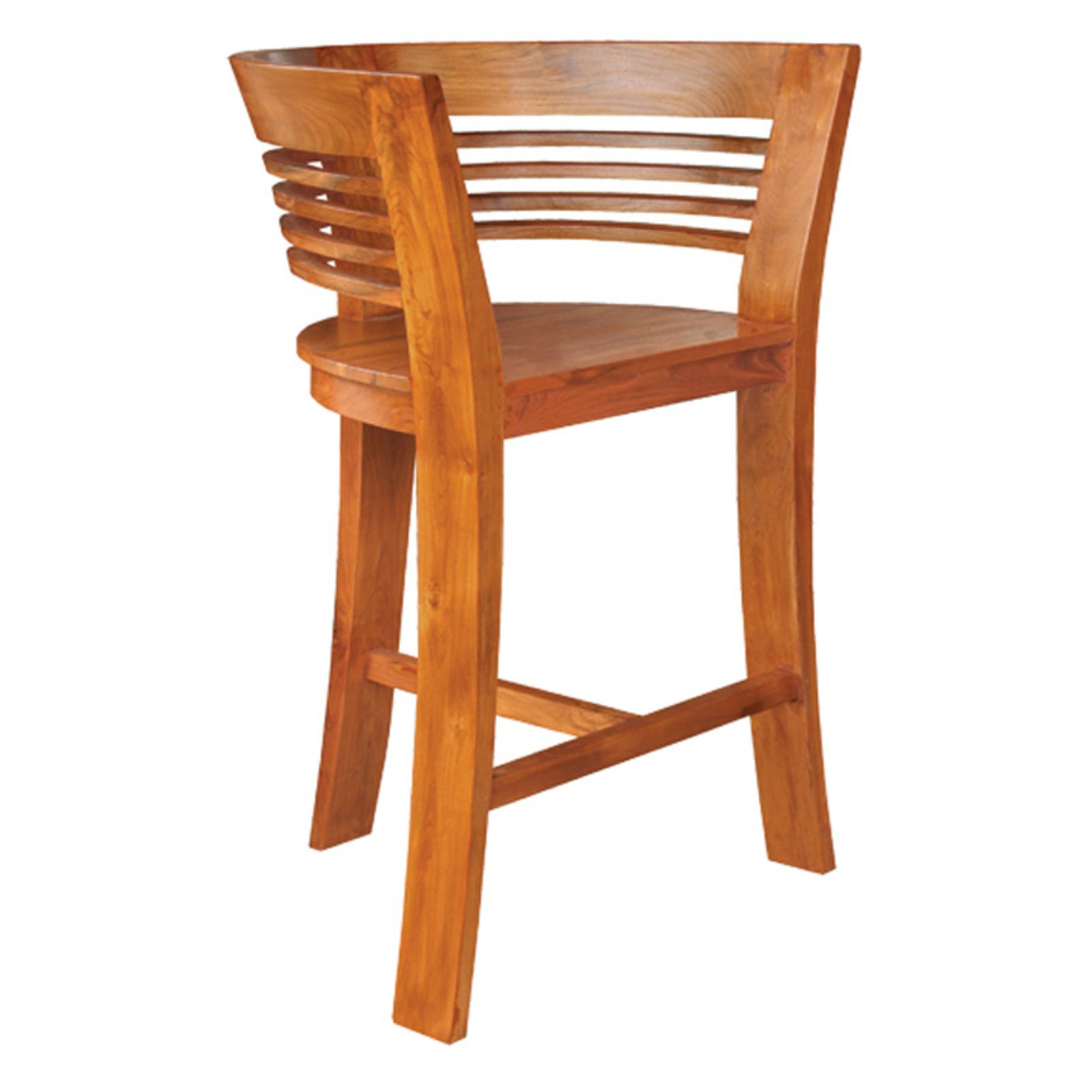 Chic Teak Half Moon Waxed Teak Outdoor Barstool
