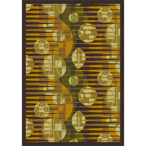 Joy Carpets Sports Keeping Score Yellow Area Rug