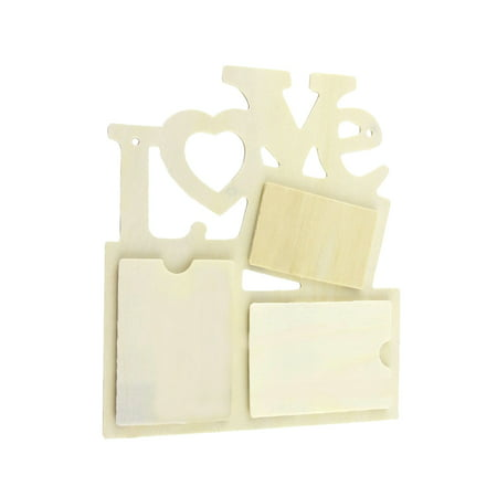 Creative Wall Wooden DIY 3 In 1 Love Family Picture Hollow Gift Photo Frame ()