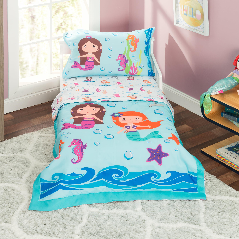Everyday Kids 4 Piece Toddler Bedding Set -Undersea Mermaids Adventure