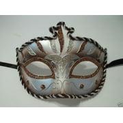 Brown Copper Silver Stripe Venetian Mardi Gras Masquerade Mask Prom Dance