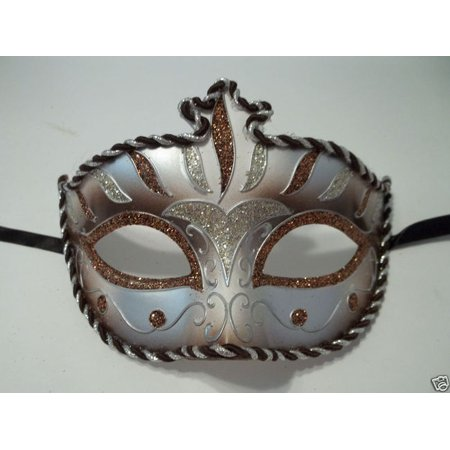 Brown Copper Silver Stripe Venetian Mardi Gras Masquerade Mask Prom