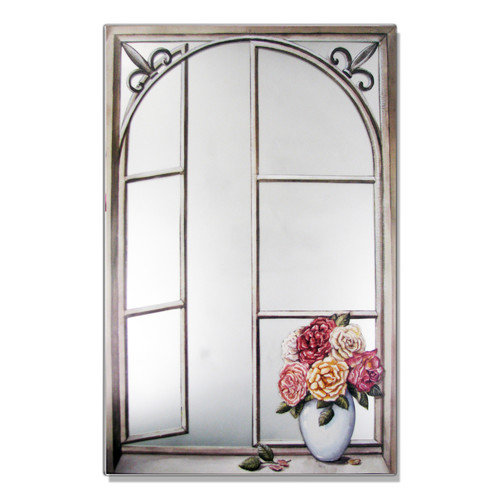 Stupell Industries Wrought Iron Cabbage Rose Faux Window Mirror