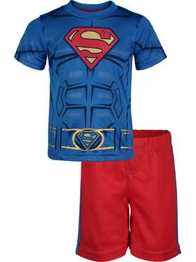 Warner Bros. Superman Toddler Boys' Athletic Performance T-Shirt & Mesh Shorts Set, Blue/Red (2T)
