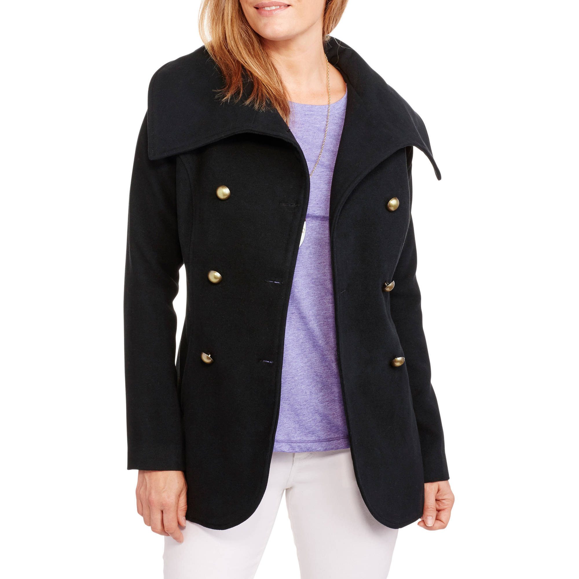Maxwell Studio Women's Tulip Faux Wool Double-Breasted Peacoat