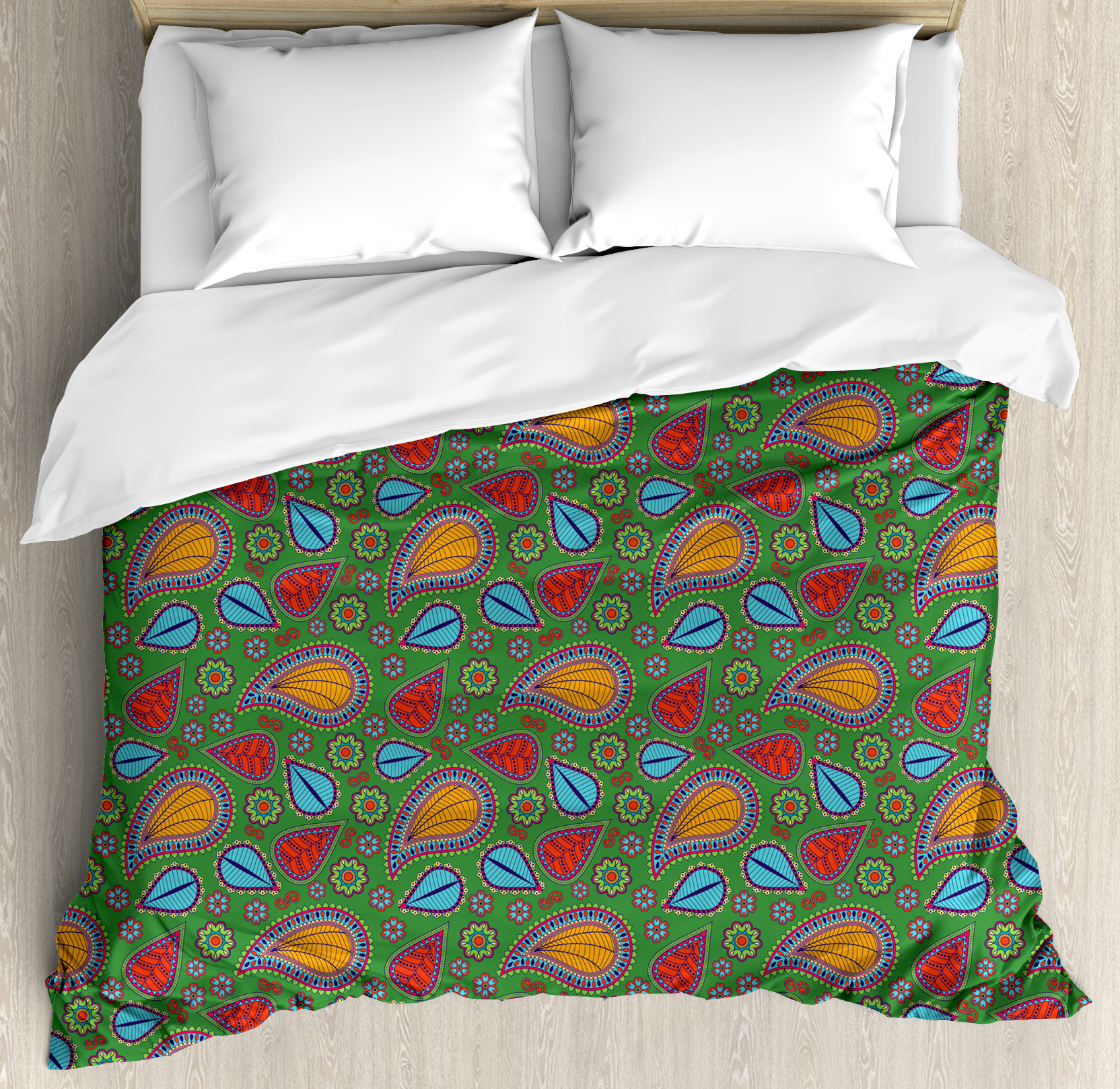 Indian King Size Duvet Cover Set, Ethnic Image with Swirls Floral Details Paisley Decor Fern Green Backdrop, Decorative 3 Piece Bedding Set with 2 Pillow Shams, Orange Blue and Red, by Ambesonne