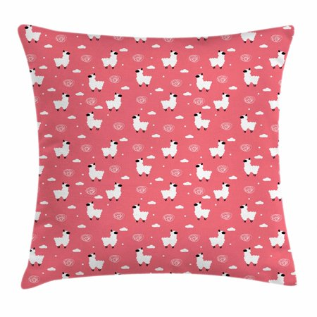 Pink and White Throw Pillow Cushion Cover, Puffy Lama Figures Among Cumulus Clouds and Scribbles with Polka Dots, Decorative Square Accent Pillow Case, 16 X 16 Inches, Coral Black White, by