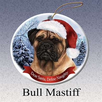 Holiday Pet Gifts Bull Mastiff Santa Hat Dog Porcelain Christmas Tree Ornament Dog Christmas Holiday Ornament