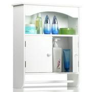 Zimtown Bathroom Wall Storage Cabinet White Shelf Organizer Bath Mount Towel Over Toilet