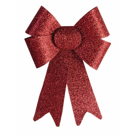 """9"""" Long Four Loop Plastic Metallic Red Glitter Christmas Bow Tie Attachment"""