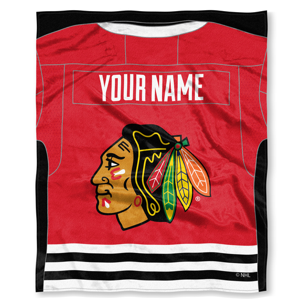 "NHL Chicago Blackhawks ""Jersey"" Personalized Silk Touch Throw Blanket"
