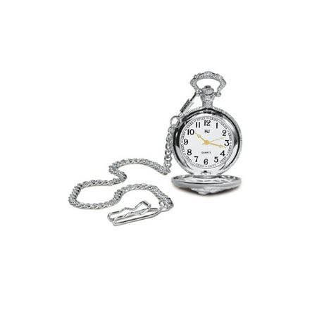 Pocket Watch Case with Chain Rubies 901 Sterling Silver Pocket Watches