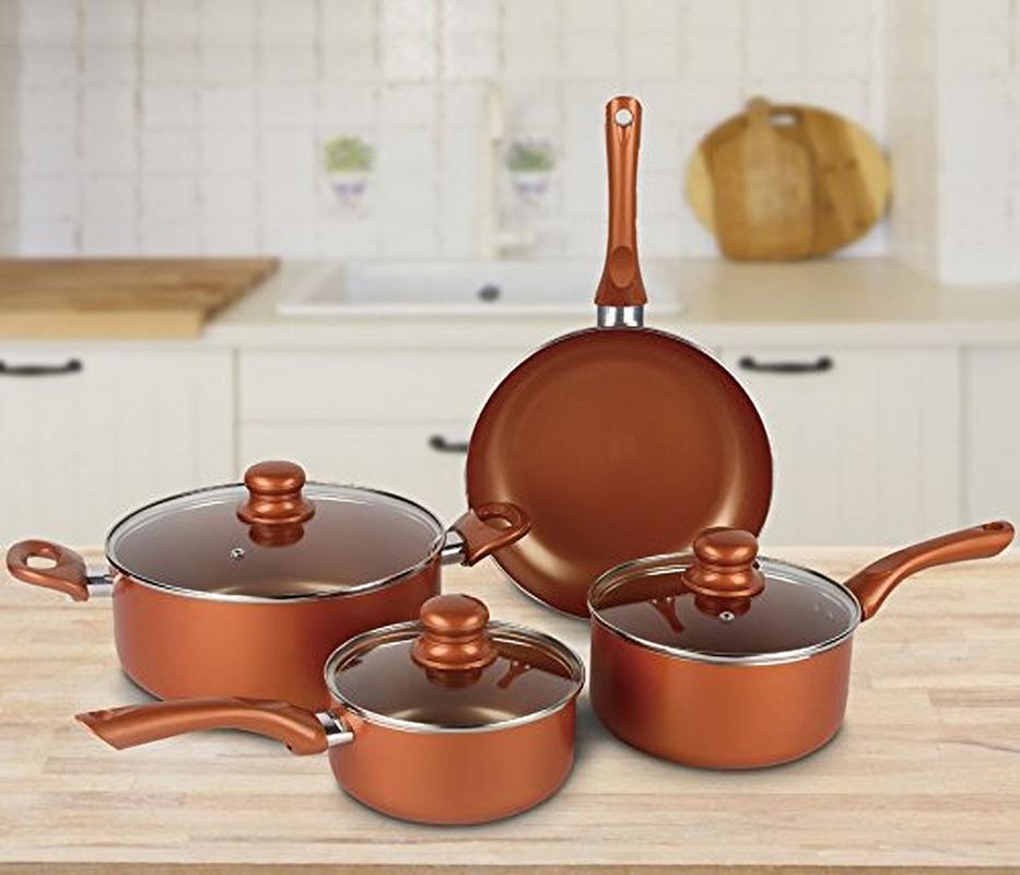 7 Piece Nonstick Ceramic Coating Copper Cookware Set Saucepans, Dutch Oven, Frying Pan with Lids by