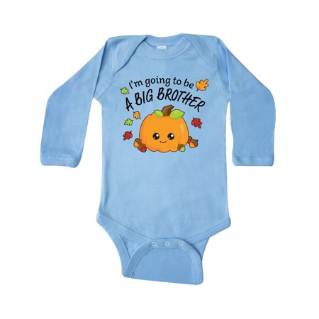 I'm Going to be a Big Brother- cute Halloween pumpkin Long Sleeve Creeper](Baby Brother Big Sister Halloween Costumes)