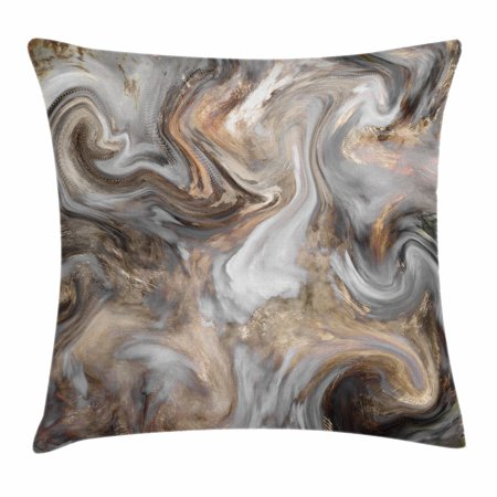 Marble Throw Pillow Cushion Cover, Retro Style Paintbrush Colors in Marbling Texture Watercolor Artwork, Decorative Square Accent Pillow Case, 18 X 18 Inches, Sand Brown Dust Light Grey, by