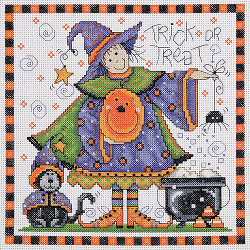 "Tobin Trick Or Treat Counted Cross Stitch Kit, 8"" x 8"", 14 Count"