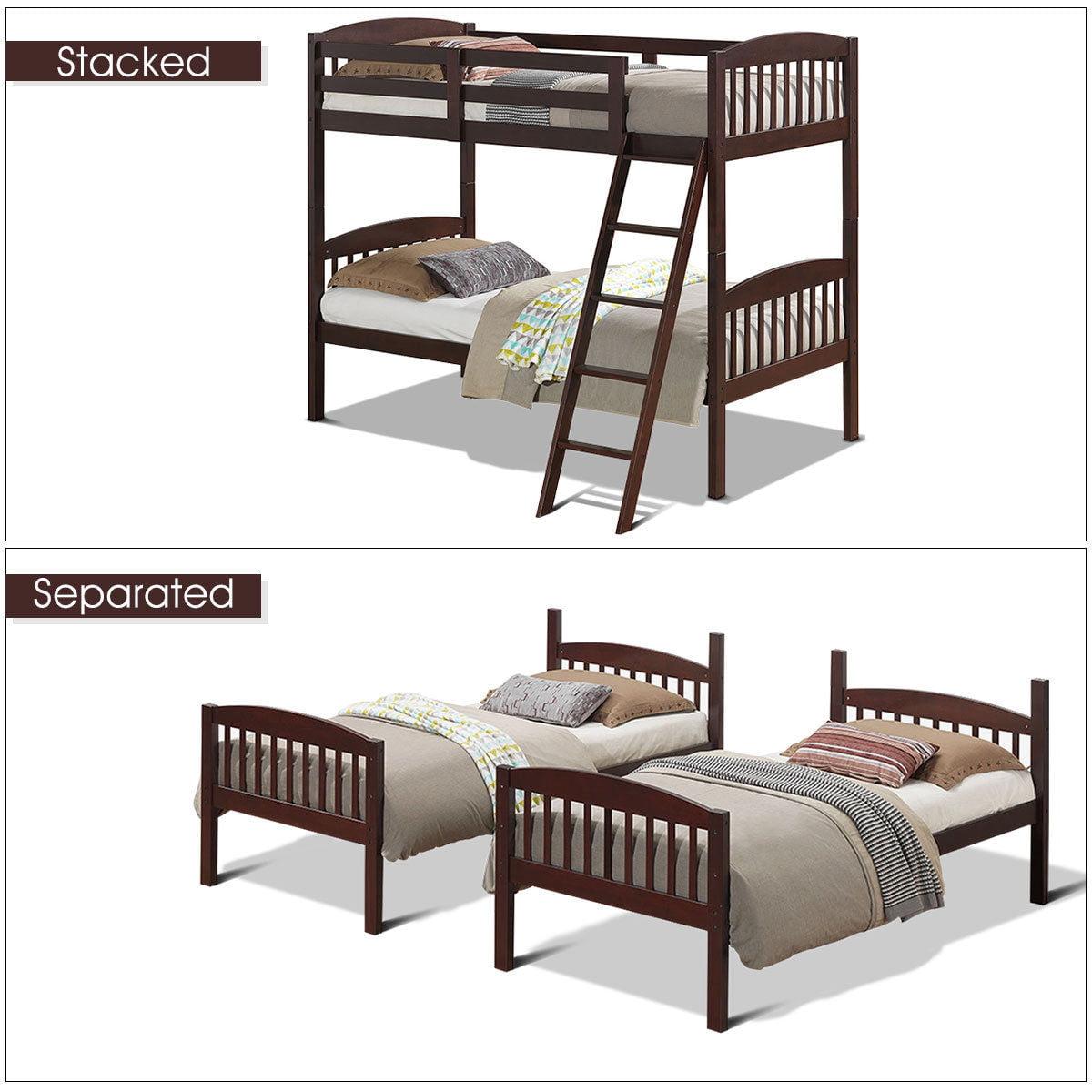 Costway Wood Solid Hardwood Twin Bunk Beds Detachable Safety Rail Walmart Com Walmart Com