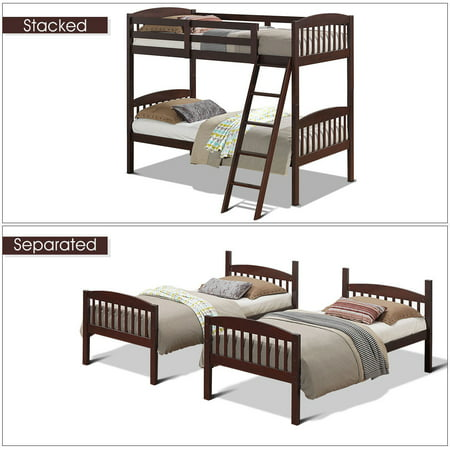 Solid Thin (Costway Wood Solid Hardwood Twin Bunk Beds Detachable Kids Ladder Safety)