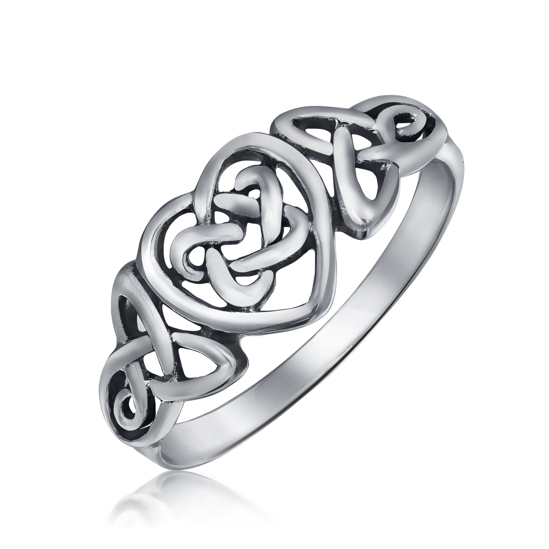 Sterling Silver Irish Celtic Knots Heart Promise Ring Walmart