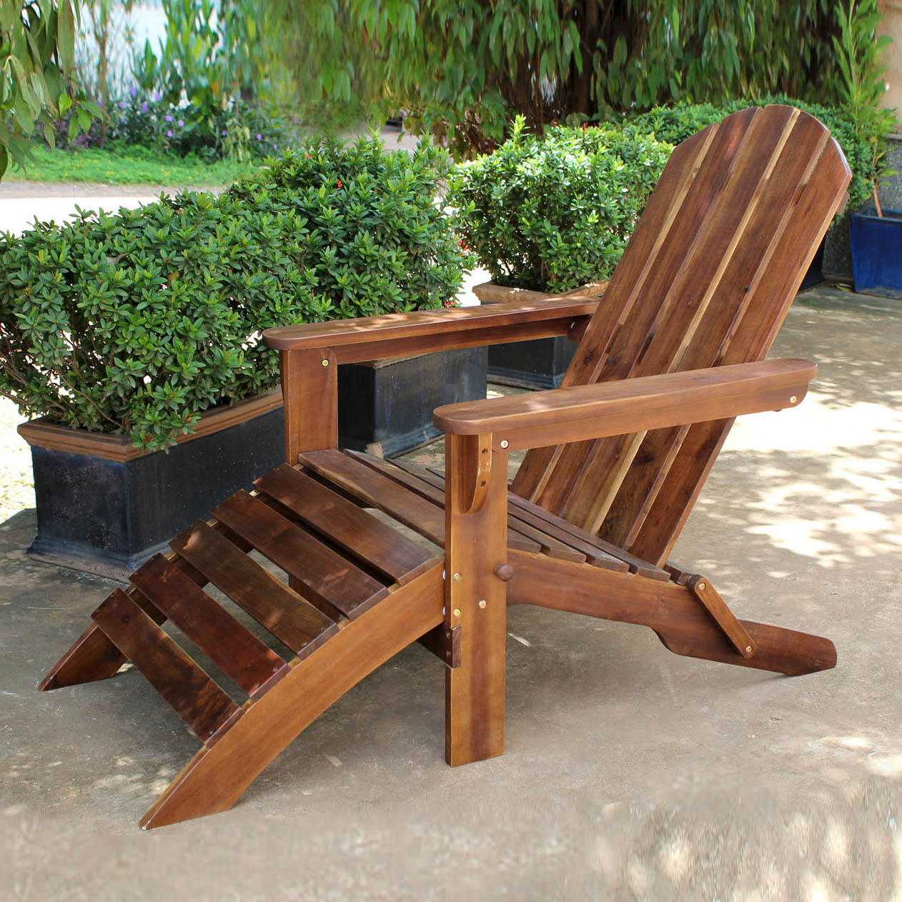 Highland Adirondack Chair with Attached Footrest