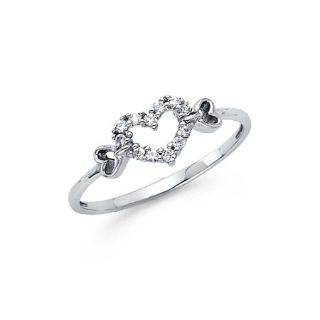 14K Solid White Gold 3 Hearts Cubic Zirconia Fancy Ring, Size 4
