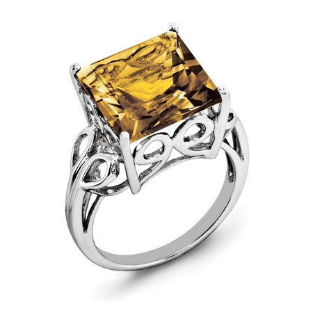 7.85ct Square Cut Whiskey Quartz 925 Sterling Silver Engagement Ring Size 10 for Mens Jewelry Gifts