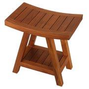 Bare Decor  Niles Solid Teak Wood Bench Stool With Shelf