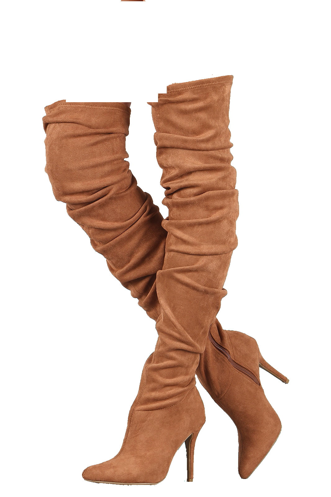 Anne Michelle Embellished Suede Pointy Toe Stiletto OTK Boots