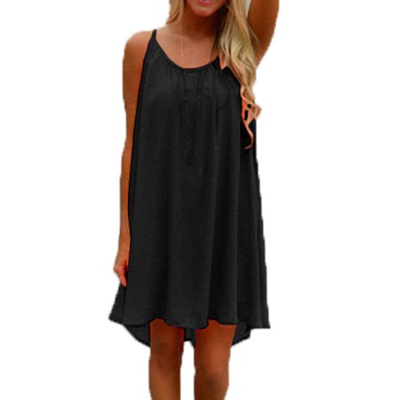 Women's Chiffon Sleeveless Comfy Beach Halter Mini Short Dress Chiffon Ruched Halter Dress