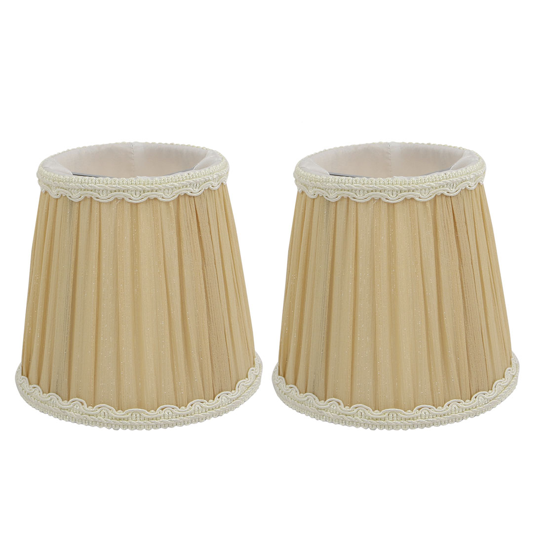 2pcs DropLight Shade Chandelier Clip-On Lampshade Apricot yellow Fabric-Covered by
