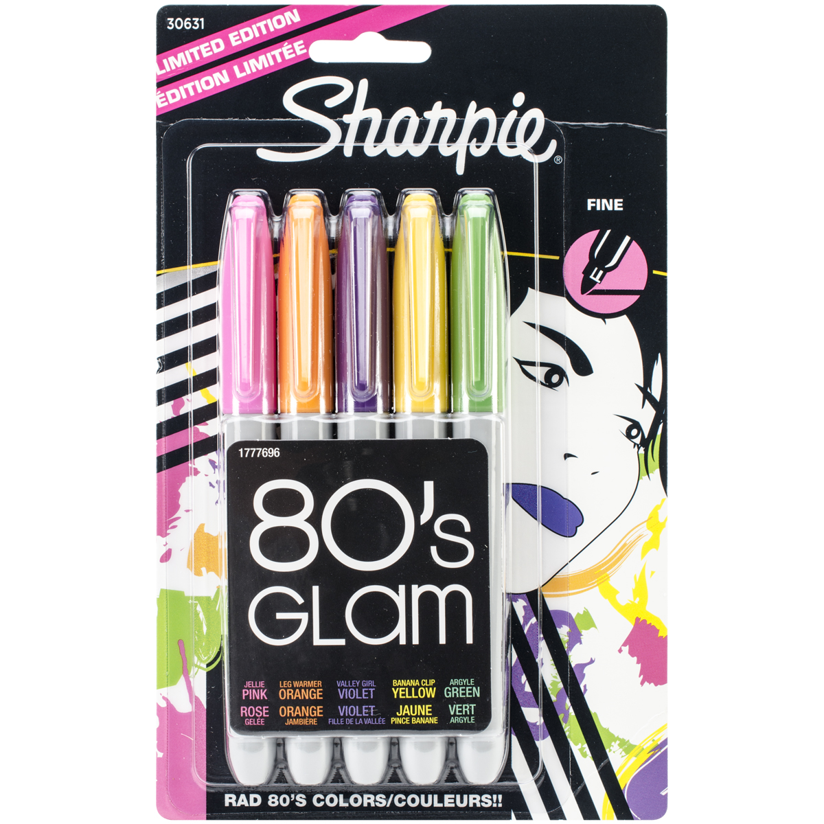 Sharpie Original Permanent Marker, Fine Tip, Fashion, 5ct