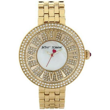 36dd27013dbe Betsey Johnson - Women s Gold Crystallized Watch BJ00343-02 - Walmart.com