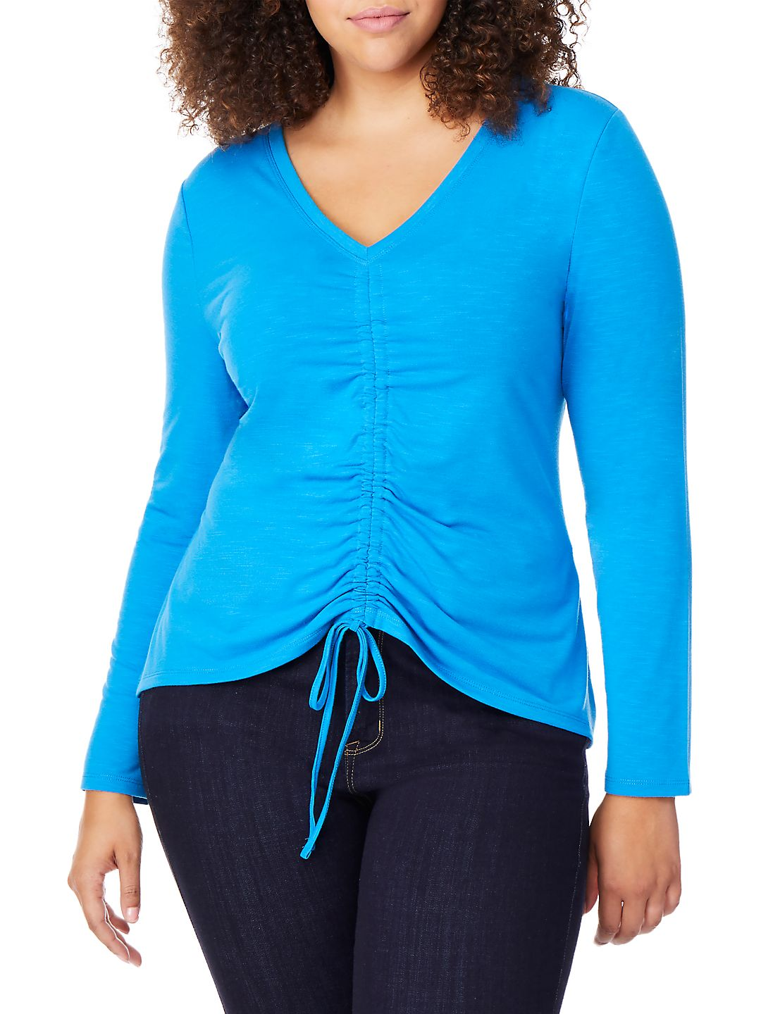 Plus Ruched V-Neck Top