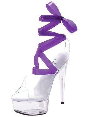 994f4a80746 Product Image Womens Clear Sandals 7 Interchangeable Ribbons Strappy Shoes  6 Inch High Heels Size  6. SummitFashions