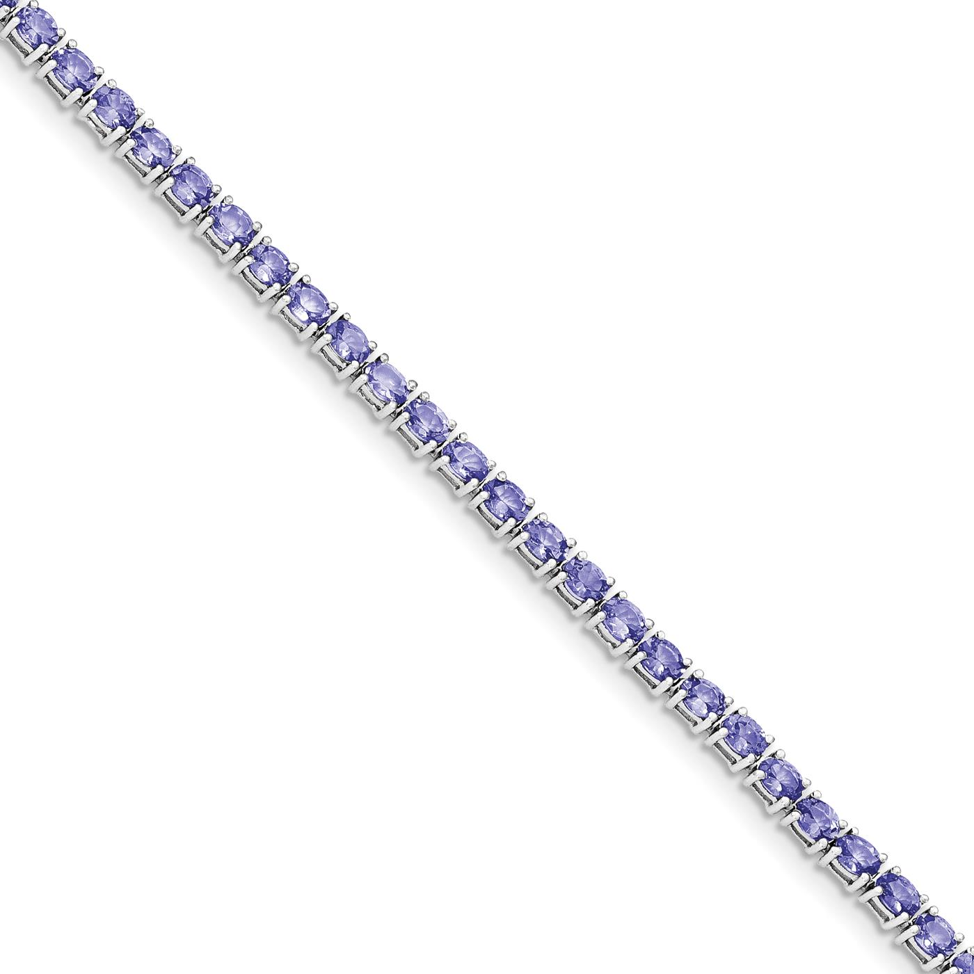 "Ladies 925 Sterling Silver Rhodium Plated Polished Oval Tanzanite Bracelet 7.5"" by Fusion Collections"